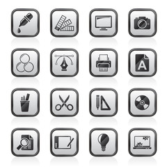 Graphic Design industry icons - vector icon set