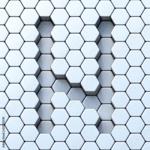 Hexagonal grid letter N 3D