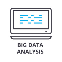 big data analysis thin line icon, sign, symbol, illustation, linear concept vector