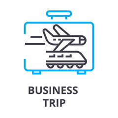 business trip thin line icon, sign, symbol, illustation, linear concept vector