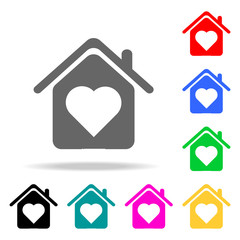 house with love icon. Elements of real estate in multi colored icons. Premium quality graphic design icon. Simple icon for websites, web design, mobile app, info graphics