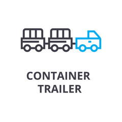 container trailer thin line icon, sign, symbol, illustation, linear concept vector