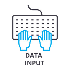 data input thin line icon, sign, symbol, illustation, linear concept vector