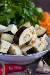 Pieces of eggplant, pepper and other vegetables to make ragout.