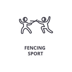 fencing sport thin line icon, sign, symbol, illustation, linear concept vector