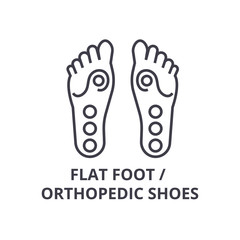 flat foot, orthopedic shoes thin line icon, sign, symbol, illustation, linear concept vector