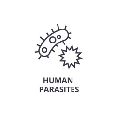 human parasites thin line icon, sign, symbol, illustation, linear concept vector