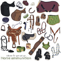 Group of vector colorful illustrations on the theme horse ammunition; set of isolated objects for equestrian sport and care.
