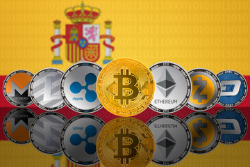 Popular cryptocurrency coins - Bitcoin (BTC), Litecoin (LTC), Ethereum (ETH), Monero (XMR), Zcash (ZEC), Ripple (XRP), Digitalcash (DASH) on the background of the flag of Spain