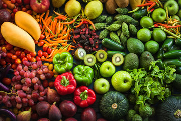 Flat lay of fresh fruits and vegetables organic, Different fruits and vegetables for eating healthy, Colorful fruits and vegetables for healthy lifestyle