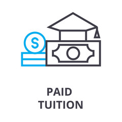 paid tuition thin line icon, sign, symbol, illustation, linear concept vector