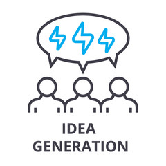 people idea generation thin line icon, sign, symbol, illustation, linear concept vector