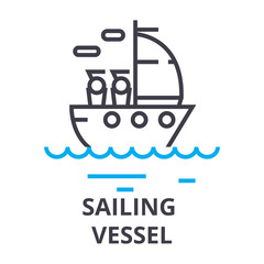 sailing vessel thin line icon, sign, symbol, illustation, linear concept vector