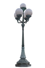 street outdoors pillar lamp object on white background with clipping path