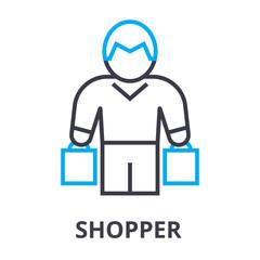 shopper thin line icon, sign, symbol, illustation, linear concept vector