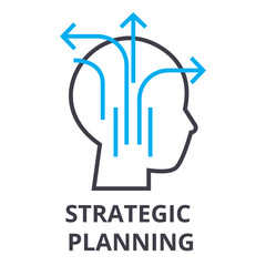 strategic planning thin line icon, sign, symbol, illustation, linear concept vector
