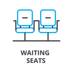 waiting seats thin line icon, sign, symbol, illustation, linear concept vector