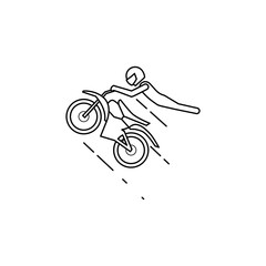 motorcyclist in a jump illustration. Element of extreme races for mobile concept and web apps. Thin line motorcyclist in a jump illustration can be used for web and mobile