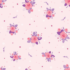 Pink purple roses ditsy vintage seamless pattern. Great for retro summer fabric, scrapbooking, giftwrap, and wallpaper design projects. Surface pattern design.