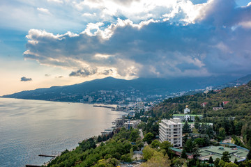 View of Yalta at sunset from the height, Crimea. The south coast of Crimea