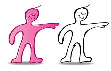 Personaje señalando . ilustración vectorial estilo linea a color y blanco y negro