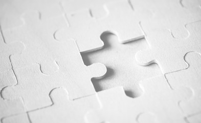 Macro shot jigsaw puzzle missing solution concept Wall mural