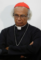 Roman Catholic Cardinal Leopoldo Brenes looks down during a news conference at the Episcopate in Managua