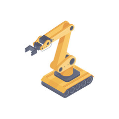Isometric automated robot arm. Smart robot arm on caterpillars in a warehouse. Design for landing page of modern logistics center. Vector 3d illustration on white background.