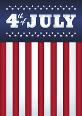 """Vector design. Text """"4th of July"""". Abstract background. USA flag style. 50 stars, 13 stripes. Vertical format A4. Blue, red and white colors."""