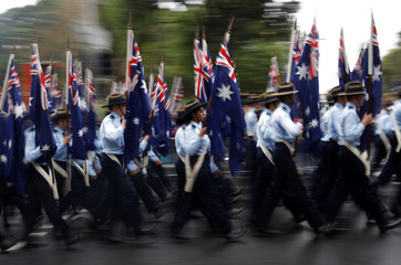 A contingent of flag bearers marches past during an Anzac Day parade in Sydney