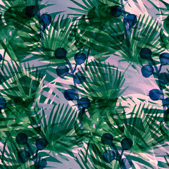 Contrast Turquoise Cool Retro Exotic Floral Watercolour Seamless Pattern. VIP Luxury Female Fabric Background, Monstera, Fan Leaves. Floral Watercolor Seamless Pattern Nice Tropical Wallpaper Prints.