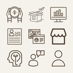 Business outline vector icon set on wood color background