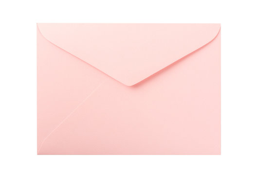 Pink envelope isolated on white background.