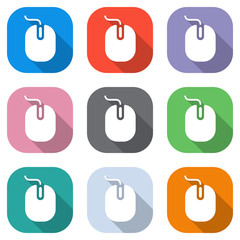 computer mouse icon. Set of white icons on colored squares for applications. Seamless and pattern for poster