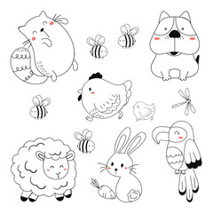 linear vector children's illustration set of cute animals