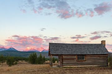 Glacier National Park Cabin Sunset