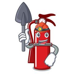 Miner fire extinguisher mascot cartoon