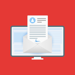 The concept of electronic signatures. Design in flat style. Vector illustration