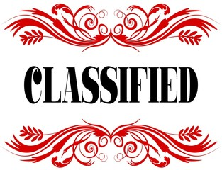 CLASSIFIED red floral text frame.