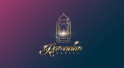 Ramadan Kareem premium golden ribbon font design card background . Vector illustration.