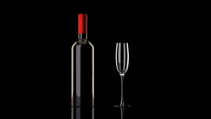 One dark bottle of red wine without a label , and a tall flute wine glass on a glassy reflective black table, elegant, isolated, black background