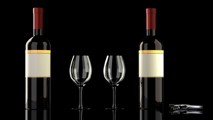 Two bottles of red wine with an elegant blank empty label to put your own logo, two wine glasses and a wine bottle opener on a glassy reflective black table, isolated, black background