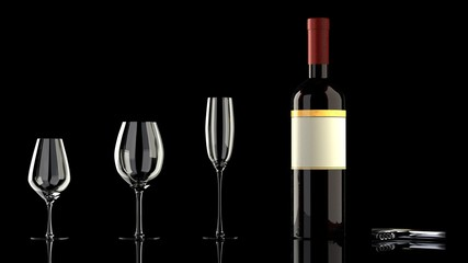 One bottle of red wine with an elegant blank empty label to put your own logo, 3 different wine glasses and a wine bottle opener on a glassy reflective black table, isolated, black background