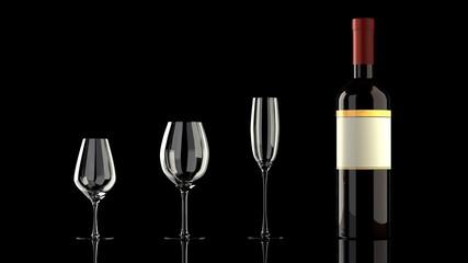 One bottle of red wine with an elegant blank empty label to put your own logo, 3 different wine glasses on a glassy reflective black table, isolated, black background