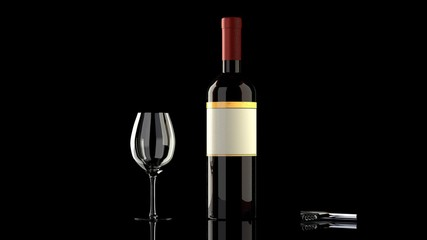 Red wine bottle, glass, black background -  blank empty label to put your own logo,  twist and pull opener on a glossy reflective black table, isolated, black background