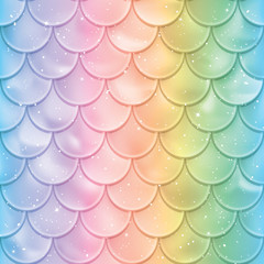 Fish scales seamless pattern. Mermaid tail texture in spectrum colors. Vector illustration