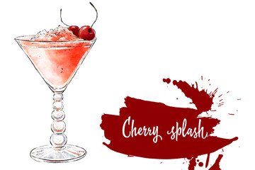 Colorfu hand-drawn illustration of delicious smoothie of fresh fruit. Fresh summer cocktail with cherries and crushed ice in a beautiful glass. Healthy beverage. Vitamin natural drink.