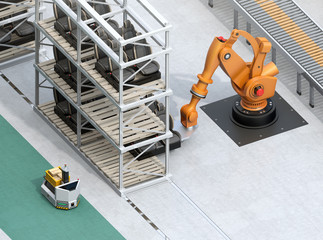 Isometric view of heavyweight robotic arm carrying car seats in car assembly production line. 3D rendering image.