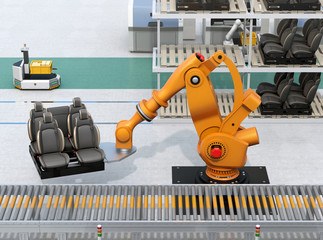 Heavyweight robotic arm carrying car seats in car assembly production line. 3D rendering image.