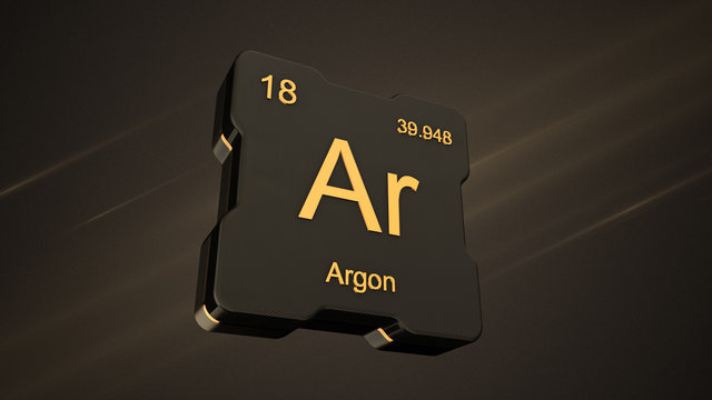 Argon element symbol number 18 from the periodic table on futuristic black icon and nice lens flare on noisy dark background - 3D render